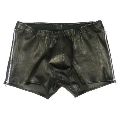 World Domination NYC Leather- mens zip shorts
