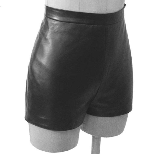 World Domination NYC Leather- High-waisted Retro shorts